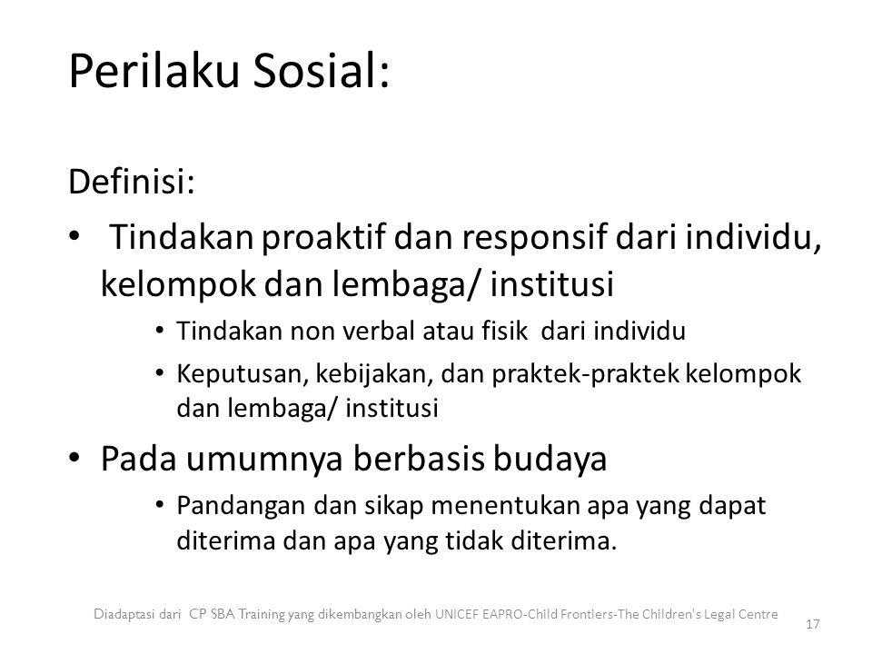 Perilaku Sosial: Diadaptasi dari CP SBA Training yang dikembangkan oleh UNICEF EAPRO-Child Frontiers-The Children's Legal Centre 17 Definisi: Tindakan
