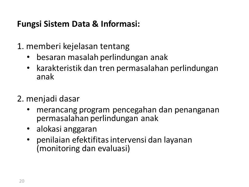 Fungsi Sistem Data & Informasi: 1. memberi kejelasan tentang besaran masalah perlindungan anak karakteristik dan tren permasalahan perlindungan anak 2