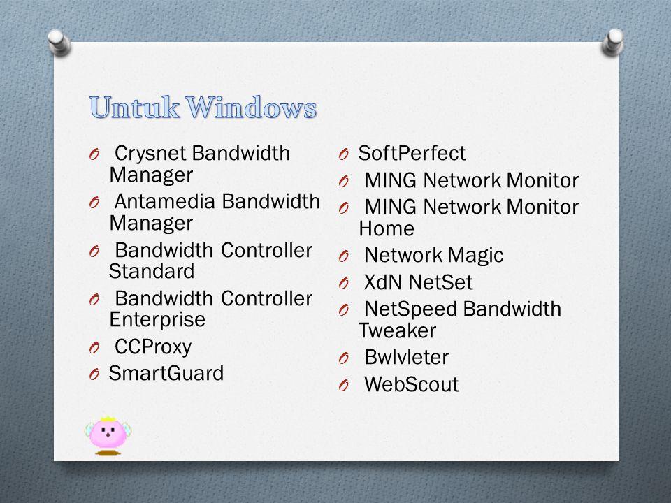 O Crysnet Bandwidth Manager O Antamedia Bandwidth Manager O Bandwidth Controller Standard O Bandwidth Controller Enterprise O CCProxy O SmartGuard O S