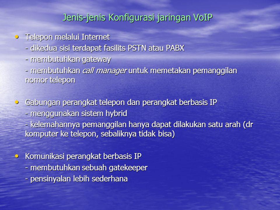Jenis-jenis Konfigurasi jaringan VoIP Telepon melalui Internet Telepon melalui Internet - dikedua sisi terdapat fasilits PSTN atau PABX - membutuhkan gateway - membutuhkan call manager untuk memetakan pemanggilan nomor telepon Gabungan perangkat telepon dan perangkat berbasis IP Gabungan perangkat telepon dan perangkat berbasis IP - menggunakan sistem hybrid - kelemahannya pemanggilan hanya dapat dilakukan satu arah (dr komputer ke telepon, sebaliknya tidak bisa) Komunikasi perangkat berbasis IP Komunikasi perangkat berbasis IP - membutuhkan sebuah gatekeeper - pensinyalan lebih sederhana