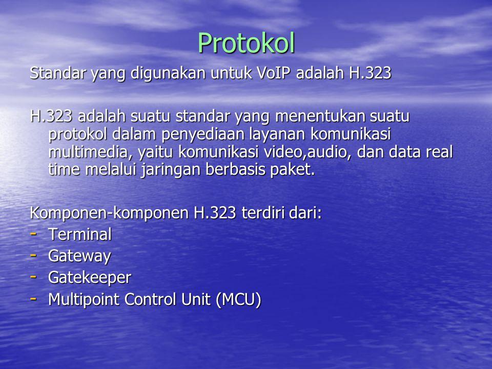 Protokol Standar yang digunakan untuk VoIP adalah H.323 H.323 adalah suatu standar yang menentukan suatu protokol dalam penyediaan layanan komunikasi multimedia, yaitu komunikasi video,audio, dan data real time melalui jaringan berbasis paket.