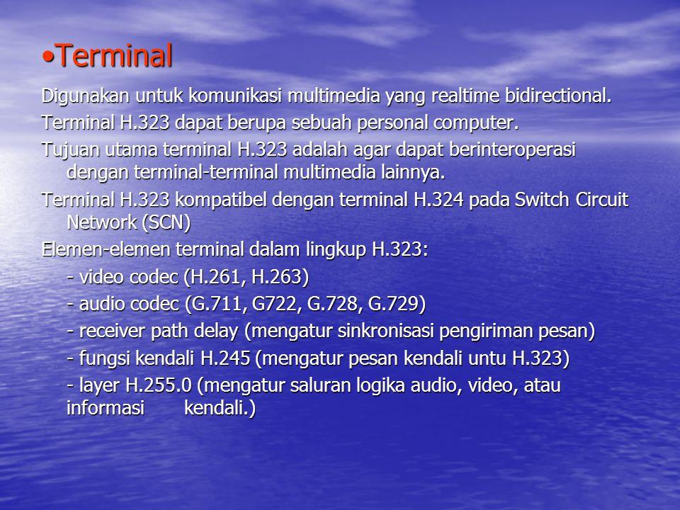 TerminalTerminal Digunakan untuk komunikasi multimedia yang realtime bidirectional.