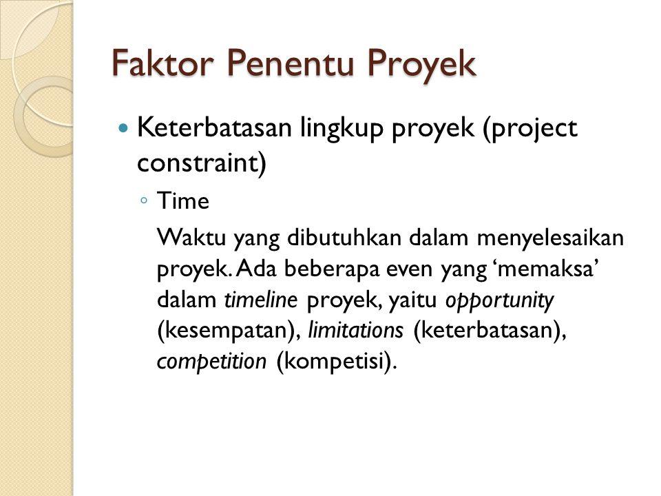Faktor Penentu Proyek Keterbatasan lingkup proyek (project constraint) ◦ Time Waktu yang dibutuhkan dalam menyelesaikan proyek. Ada beberapa even yang