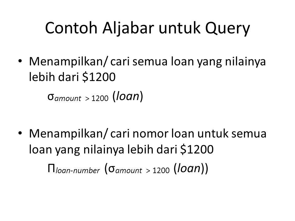 Contoh Aljabar untuk Query Menampilkan/ cari semua loan yang nilainya lebih dari $1200 σ amount > 1200 (loan) Menampilkan/ cari nomor loan untuk semua