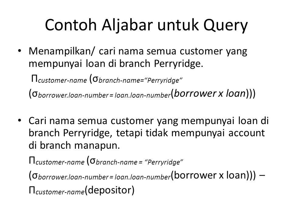 "Contoh Aljabar untuk Query Menampilkan/ cari nama semua customer yang mempunyai loan di branch Perryridge. Π customer-name (σ branch-name=""Perryridge"""