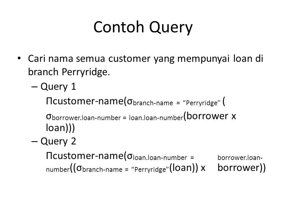 """Contoh Query Cari nama semua customer yang mempunyai loan di branch Perryridge. – Query 1 Πcustomer-name(σ branch-name = """"Perryridge"""" ( σ borrower.loa"""