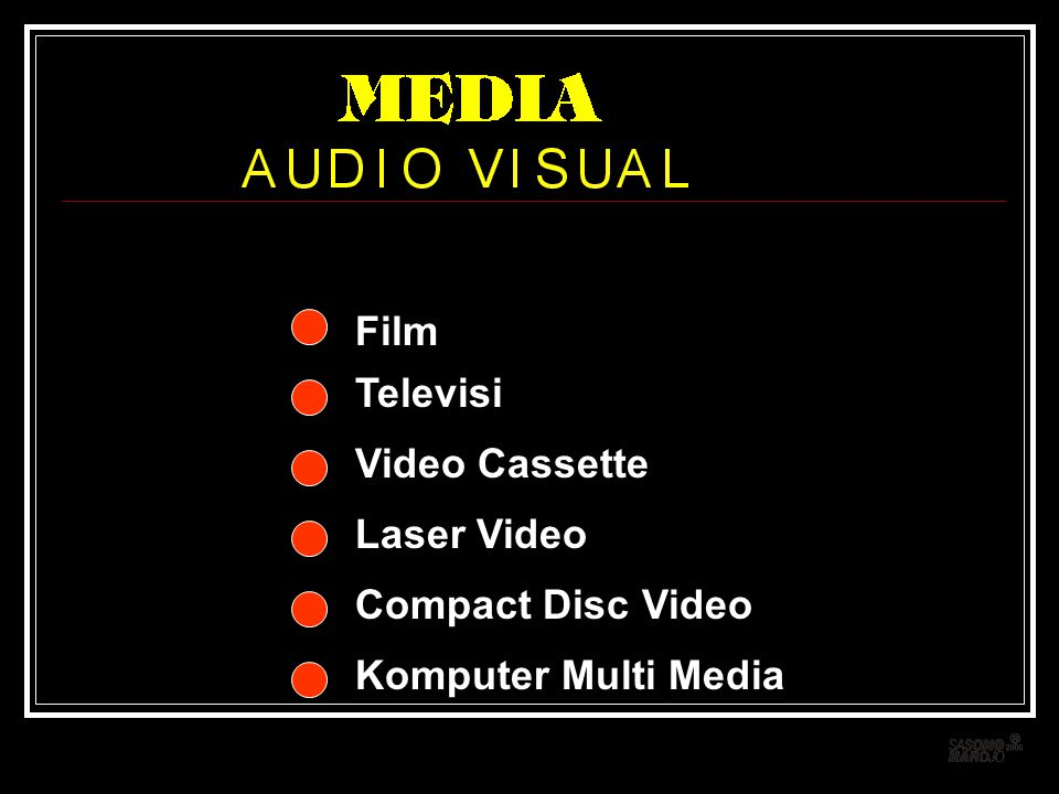 Video Cassette Film Laser Video Compact Disc Video Televisi Komputer Multi Media