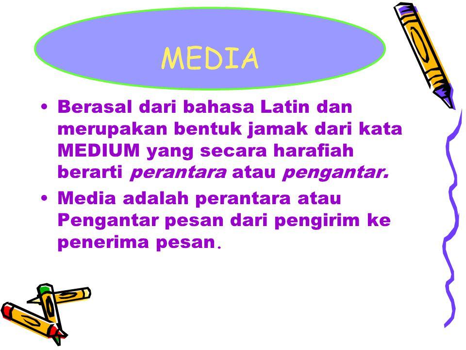 MEDIA Berasal dari bahasa Latin dan merupakan bentuk jamak dari kata MEDIUM yang secara harafiah berarti perantara atau pengantar. Media adalah perant