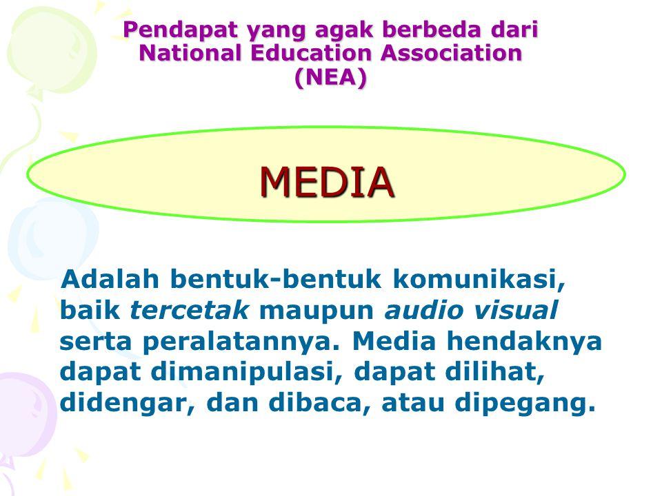 Pendapat yang agak berbeda dari National Education Association (NEA) Adalah bentuk-bentuk komunikasi, baik tercetak maupun audio visual serta peralatannya.