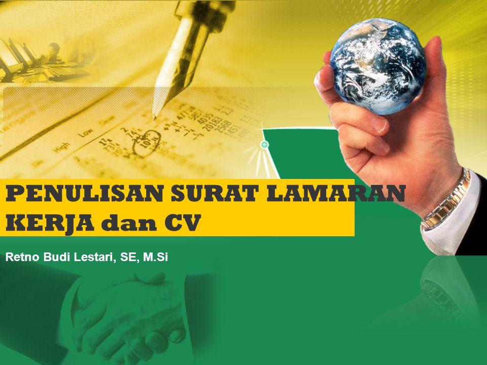 Surat lamaran kerja adalah surat yang digunakan untuk melamar kerja dan biasanya dilengkapi dengan resume (Curriculum Vitae) PENDEKATAN AIDA, untuk menggugah atau menarik perhatian pembaca.