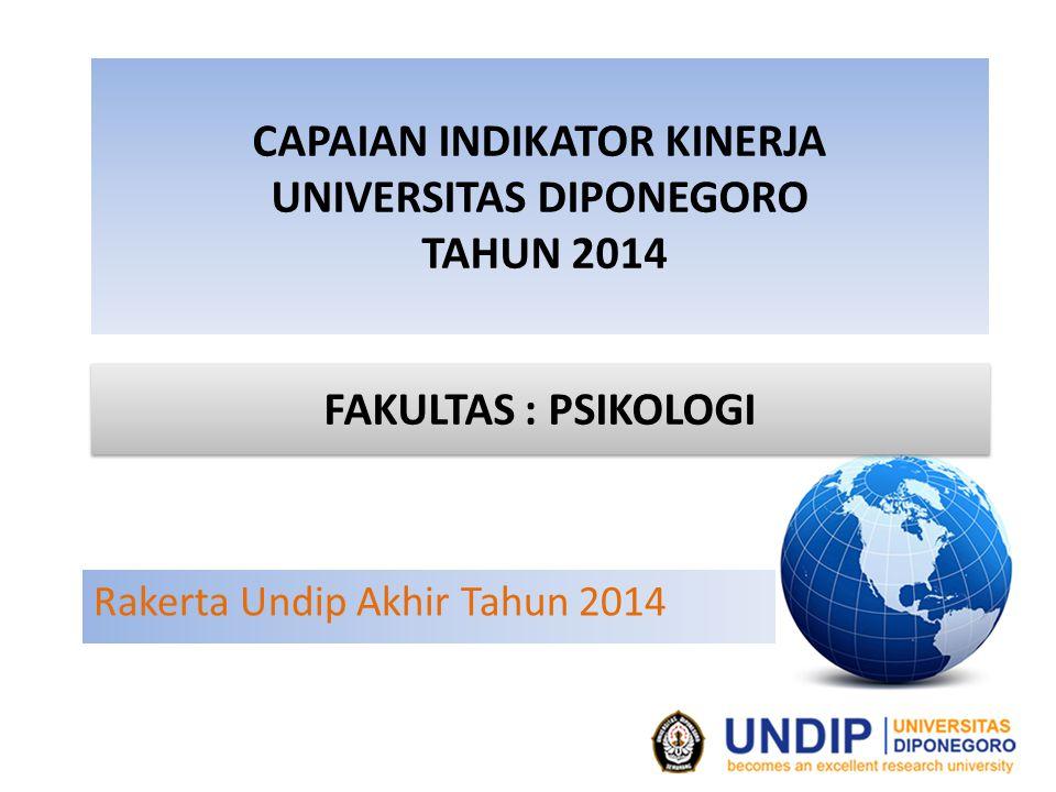 CAPAIAN INDIKATOR KINERJA UNIVERSITAS DIPONEGORO TAHUN 2014 Rakerta Undip Akhir Tahun 2014 FAKULTAS : PSIKOLOGI