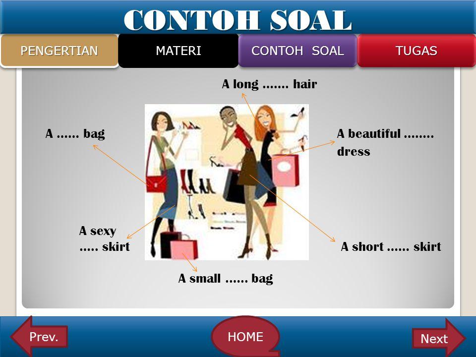 A long ……. hair A …… bag A beautiful …….. dress A sexy ….. skirt A short …… skirt A small.….. bag PENGERTIANPENGERTIAN MATERI CONTOH SOAL TUGASTUGAS P