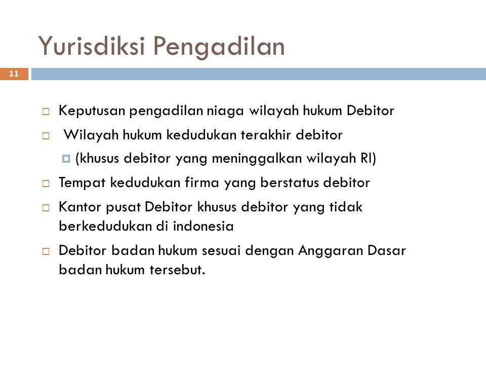 Yurisdiksi Pengadilan 11  Keputusan pengadilan niaga wilayah hukum Debitor  Wilayah hukum kedudukan terakhir debitor  (khusus debitor yang meningga