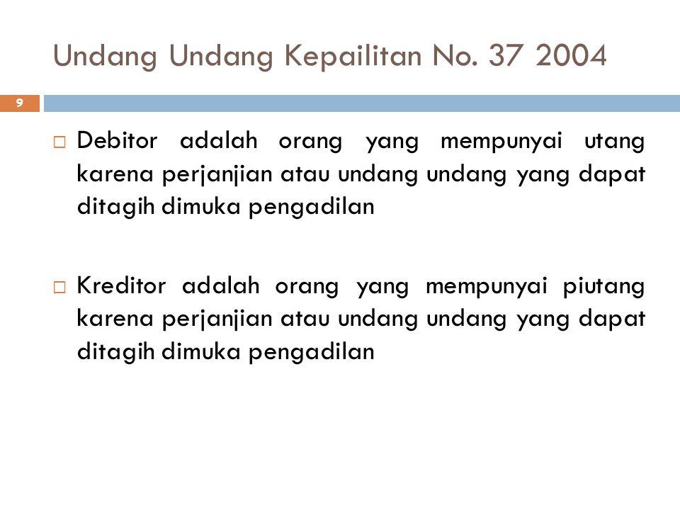 Undang Undang Kepailitan No. 37 2004 9  Debitor adalah orang yang mempunyai utang karena perjanjian atau undang undang yang dapat ditagih dimuka peng