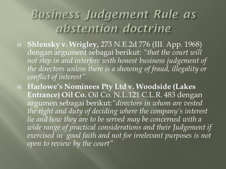  Shlensky v.Wrigley, 273 N.E.2d 776 (III. App.