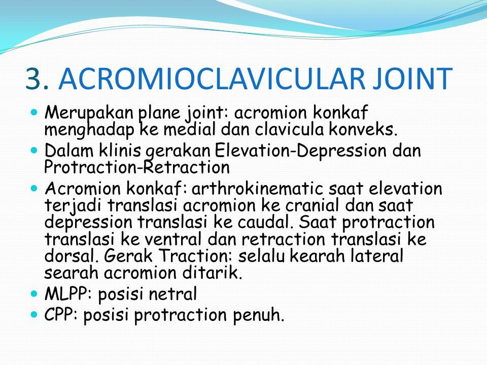 3. ACROMIOCLAVICULAR JOINT Merupakan plane joint: acromion konkaf menghadap ke medial dan clavicula konveks. Dalam klinis gerakan Elevation-Depression