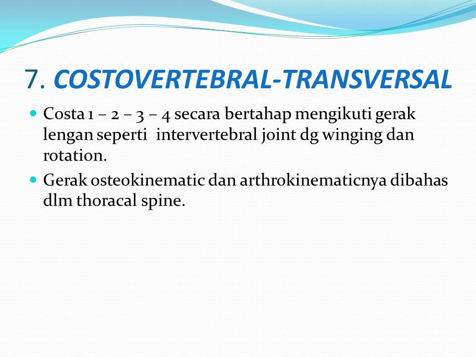 7. COSTOVERTEBRAL-TRANSVERSAL Costa 1 – 2 – 3 – 4 secara bertahap mengikuti gerak lengan seperti intervertebral joint dg winging dan rotation. Gerak o