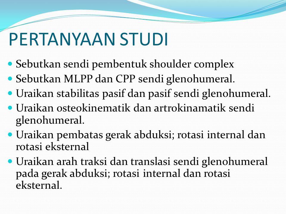 PERTANYAAN STUDI Sebutkan sendi pembentuk shoulder complex Sebutkan MLPP dan CPP sendi glenohumeral. Uraikan stabilitas pasif dan pasif sendi glenohum