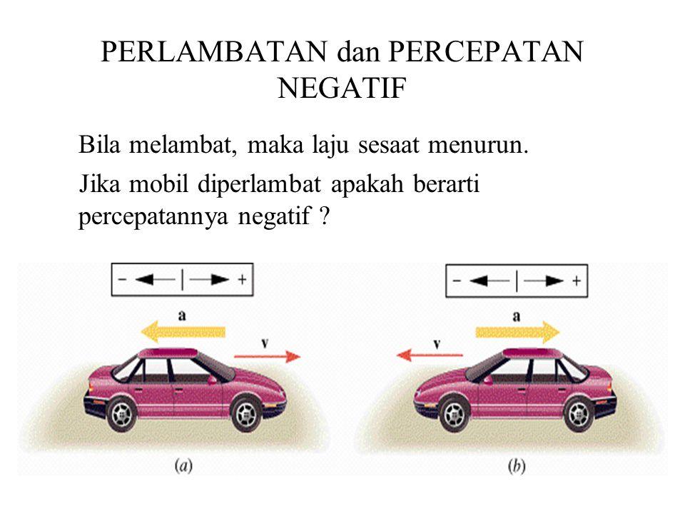 PERLAMBATAN dan PERCEPATAN NEGATIF Bila melambat, maka laju sesaat menurun. Jika mobil diperlambat apakah berarti percepatannya negatif ?