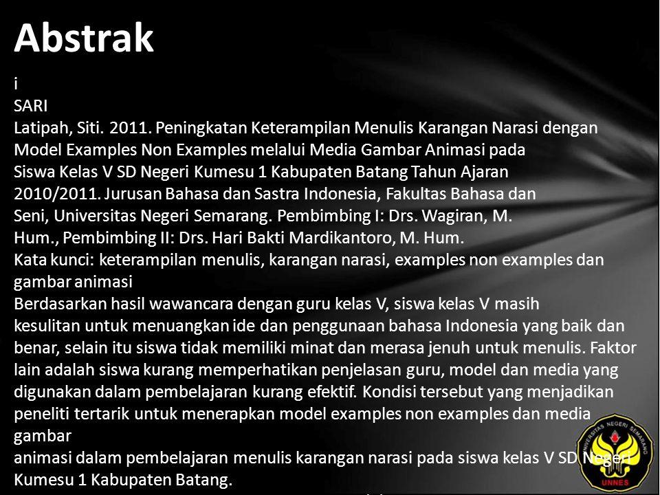 Abstrak i SARI Latipah, Siti. 2011.
