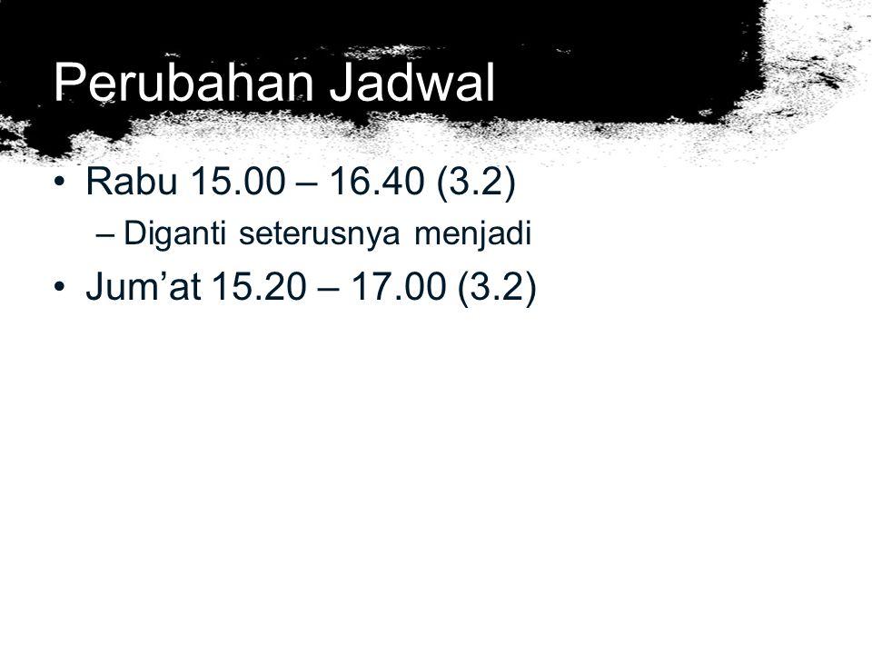 Perubahan Jadwal Rabu 15.00 – 16.40 (3.2) –Diganti seterusnya menjadi Jum'at 15.20 – 17.00 (3.2)