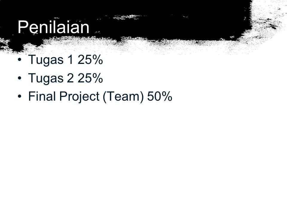 Penilaian Tugas 1 25% Tugas 2 25% Final Project (Team) 50%