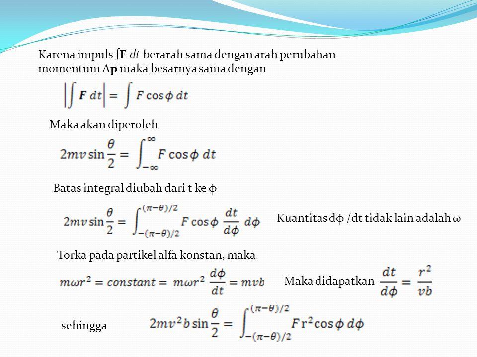 Karena impuls ∫F dt berarah sama dengan arah perubahan momentum Δp maka besarnya sama dengan Maka akan diperoleh Batas integral diubah dari t ke φ Kuantitas dφ /dt tidak lain adalah ω Torka pada partikel alfa konstan, maka Maka didapatkan sehingga