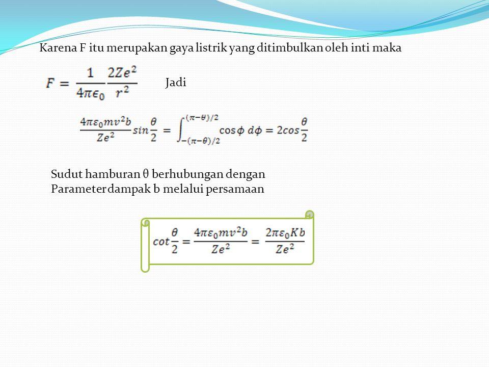 Karena F itu merupakan gaya listrik yang ditimbulkan oleh inti maka Jadi Sudut hamburan θ berhubungan dengan Parameter dampak b melalui persamaan
