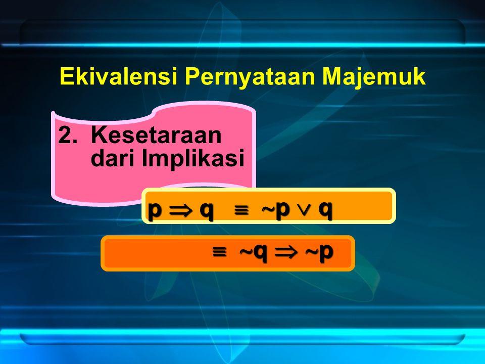 2.Kesetaraan dari Implikasi Ekivalensi Pernyataan Majemuk p  q   p  q  p  q   q   p