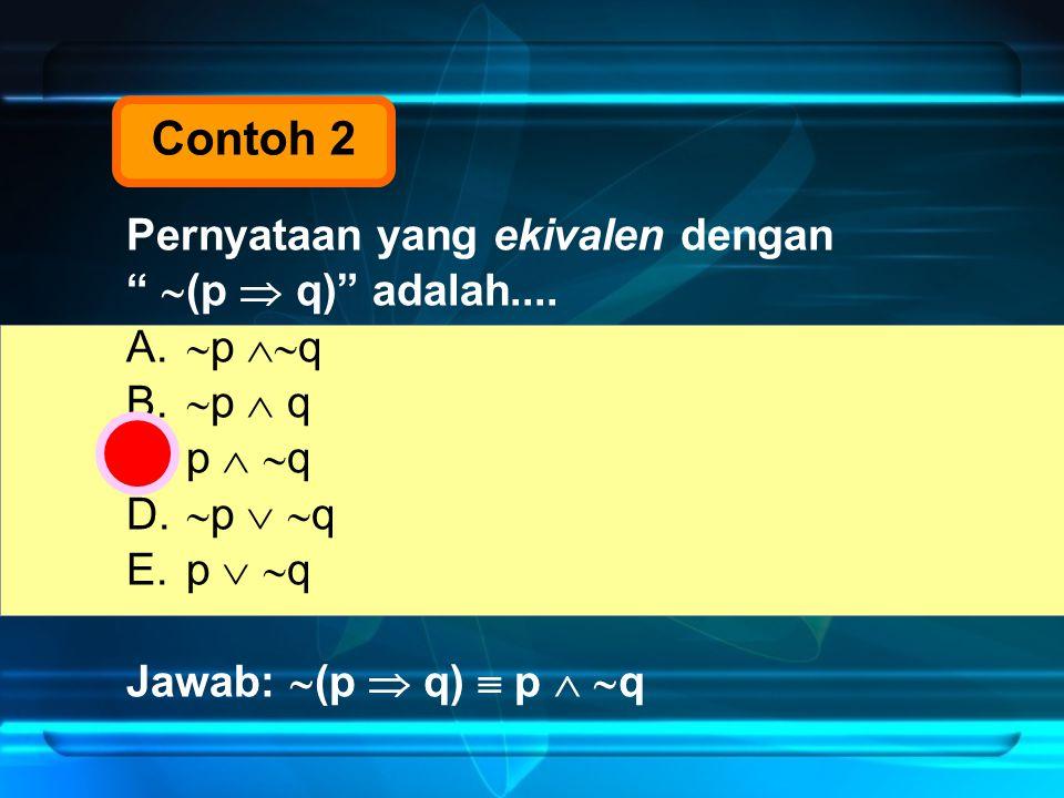 """Pernyataan yang ekivalen dengan """"  (p  q)"""" adalah.... A.  p  q B.  p  q C.p   q D.  p   q E.p   q Jawab:  (p  q)  p   q Contoh 2"""
