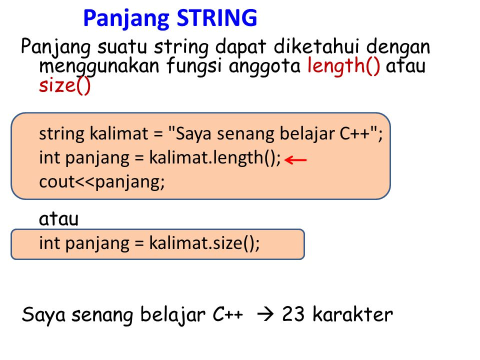 string kalimat = Saya dan dia sama-sama mengambil mata kuliah ini ; cout<<kalimat<<endl; kalimat.erase(13,10); cout<<kalimat; string kalimat = Saya dan dia sama-sama mengambil mata kuliah ini ; cout<<kalimat<<endl; kalimat.erase(0,kalimat.length()); cout<<kalimat;