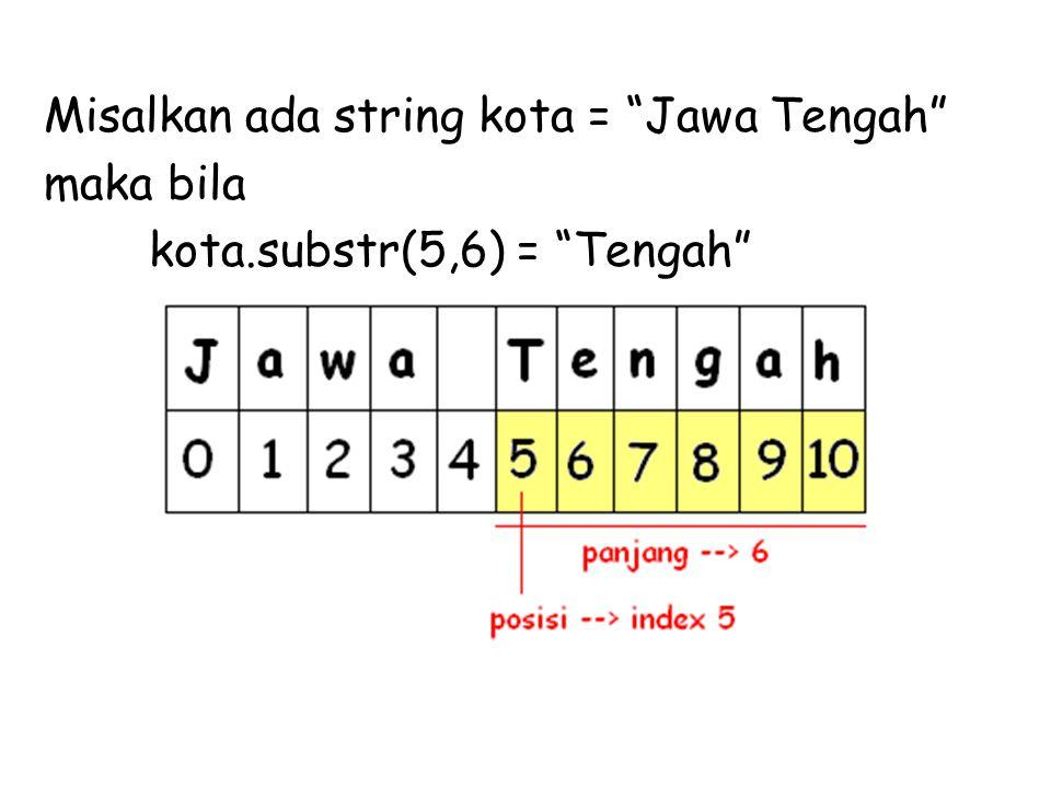 """Misalkan ada string kota = """"Jawa Tengah"""" maka bila kota.substr(5,6) = """"Tengah"""""""