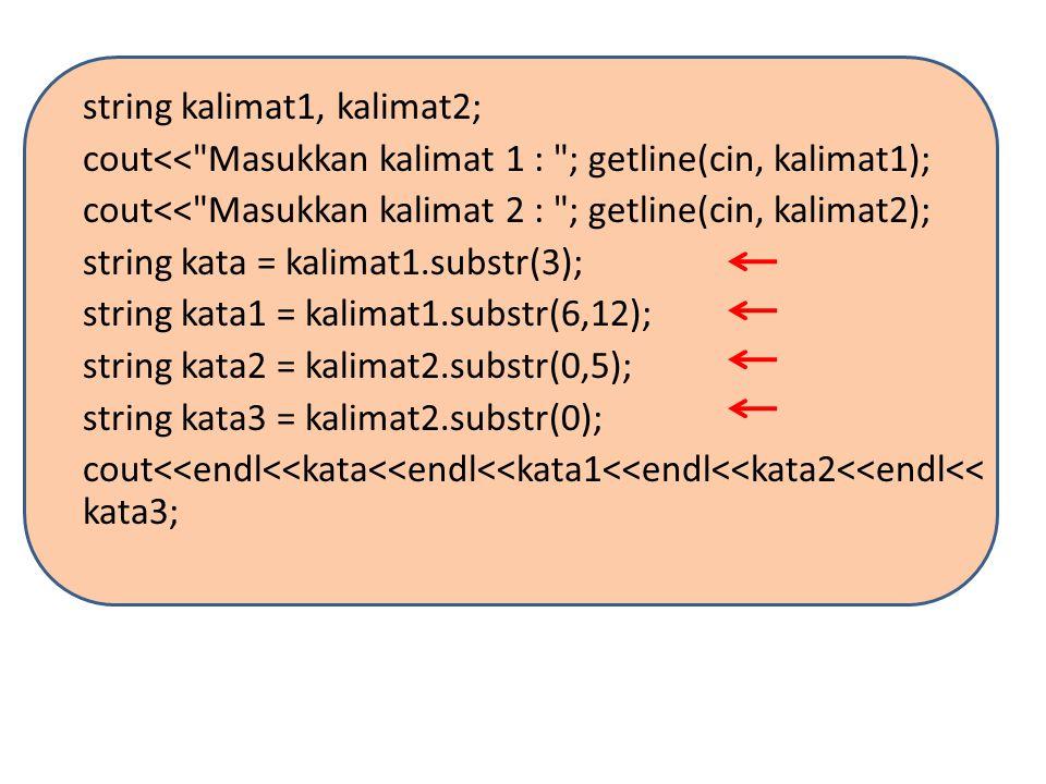 Mencari STRING Untuk menentukan posisi suatu karakter atau potongan string di dalam suatu string besar digunakan fungsi anggota find.