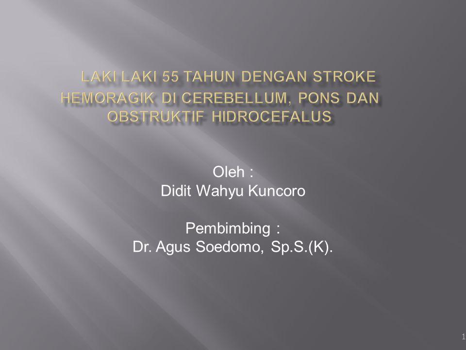 1 Oleh : Didit Wahyu Kuncoro Pembimbing : Dr. Agus Soedomo, Sp.S.(K).