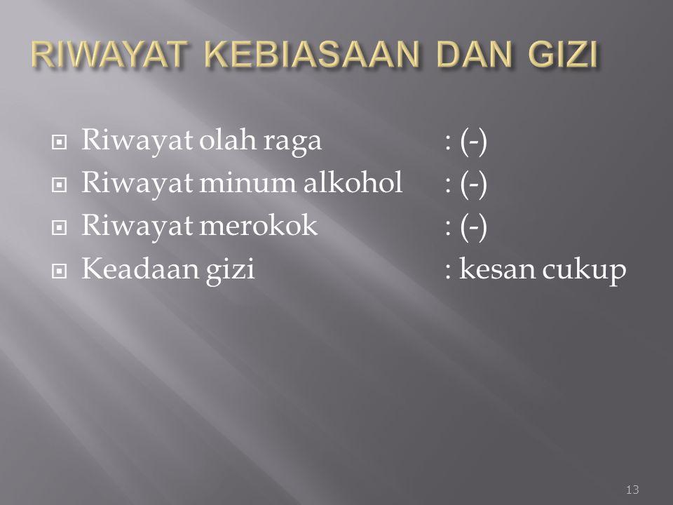  Riwayat olah raga : (-)  Riwayat minum alkohol: (-)  Riwayat merokok: (-)  Keadaan gizi : kesan cukup 13