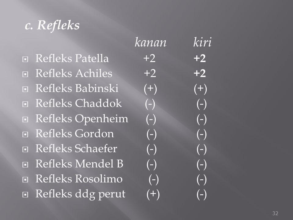 c. Refleks kanankiri  Refleks Patella +2 +2  Refleks Achiles +2 +2  Refleks Babinski (+) (+)  Refleks Chaddok (-) (-)  Refleks Openheim (-) (-) 