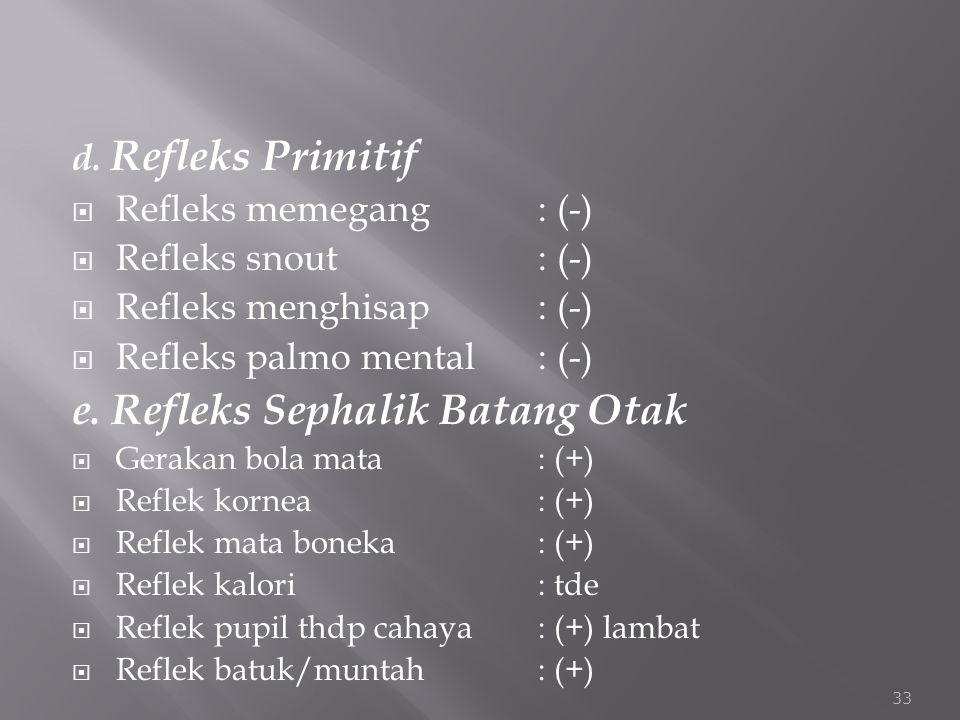 d. Refleks Primitif  Refleks memegang: (-)  Refleks snout: (-)  Refleks menghisap: (-)  Refleks palmo mental: (-) e. Refleks Sephalik Batang Otak