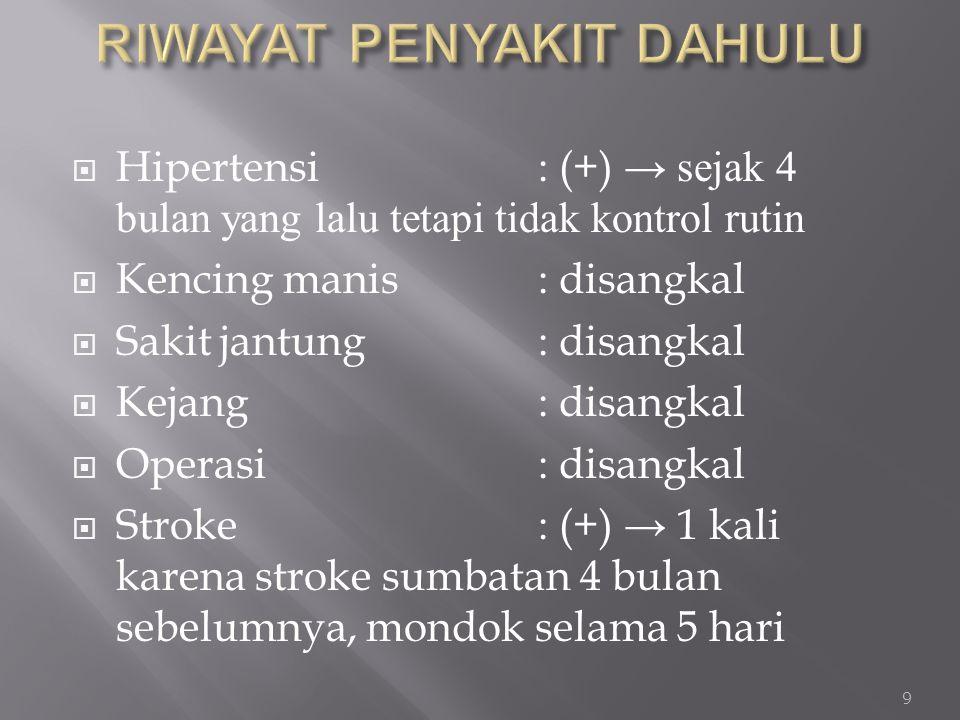  Hipertensi : (+) → sejak 4 bulan yang lalu tetapi tidak kontrol rutin  Kencing manis: disangkal  Sakit jantung: disangkal  Kejang : disangkal  O