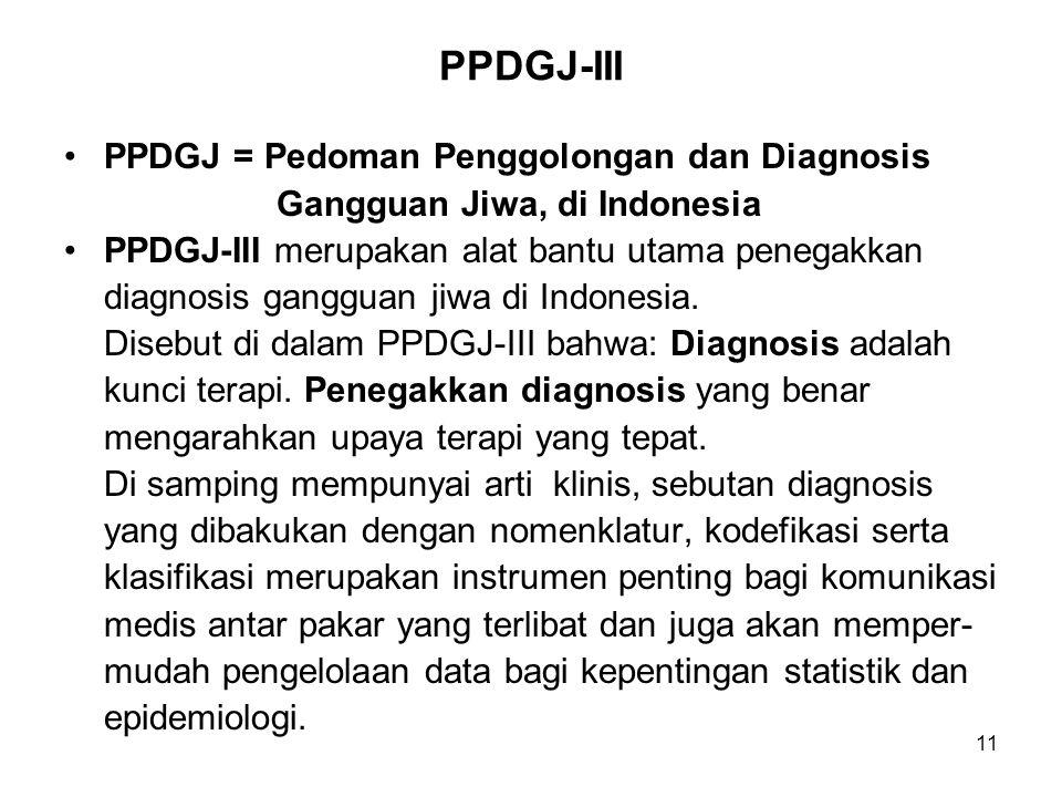 11 PPDGJ-III PPDGJ = Pedoman Penggolongan dan Diagnosis Gangguan Jiwa, di Indonesia PPDGJ-III merupakan alat bantu utama penegakkan diagnosis gangguan