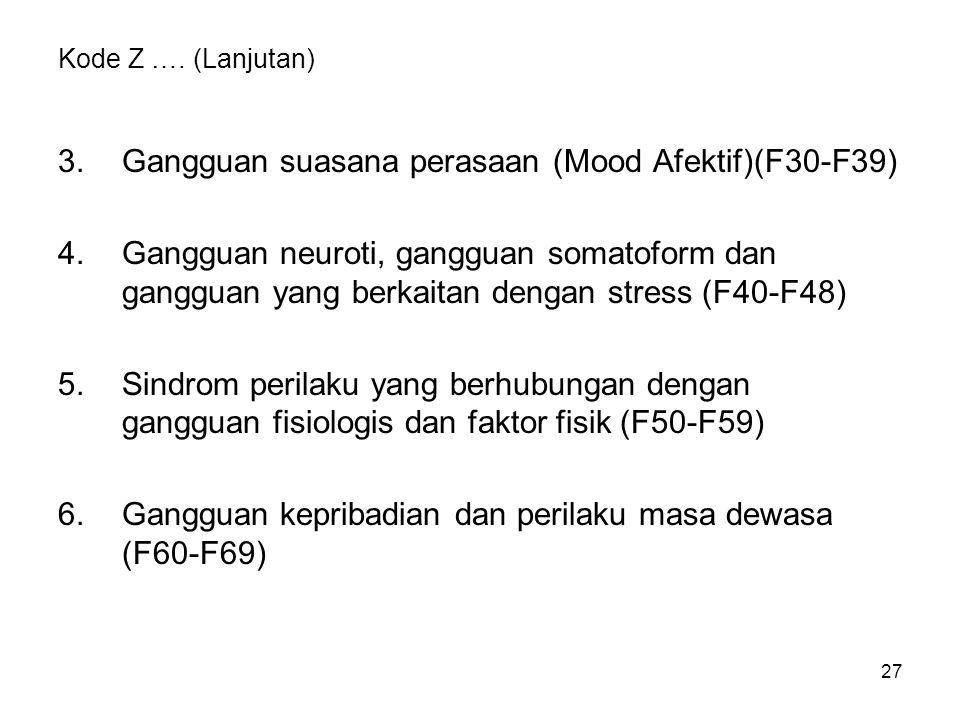 27 Kode Z …. (Lanjutan) 3.Gangguan suasana perasaan (Mood Afektif)(F30-F39) 4.Gangguan neuroti, gangguan somatoform dan gangguan yang berkaitan dengan