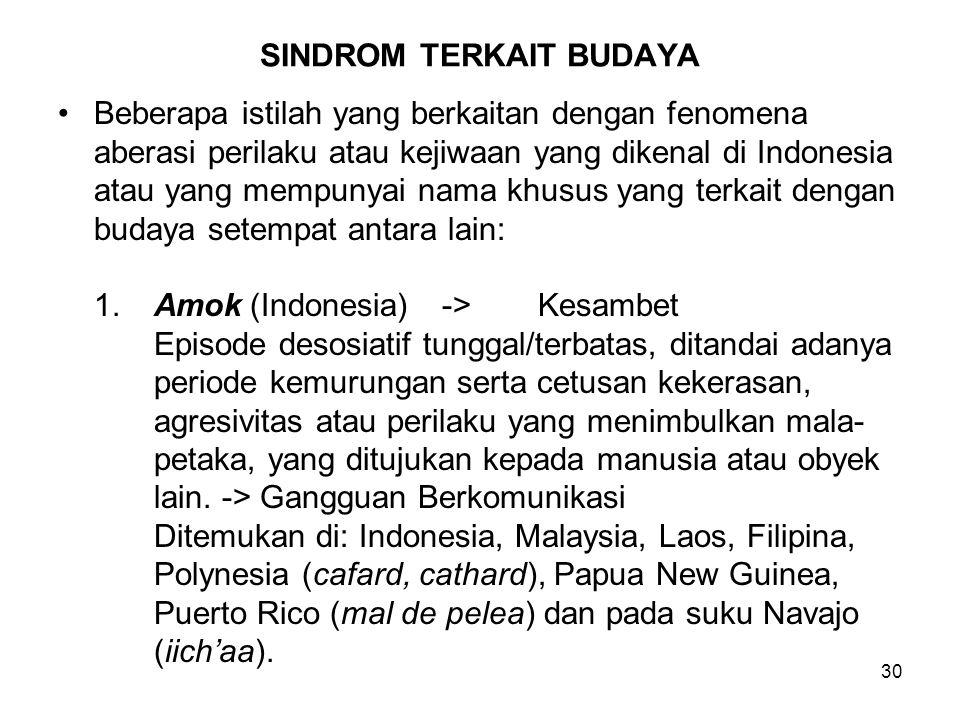 30 SINDROM TERKAIT BUDAYA Beberapa istilah yang berkaitan dengan fenomena aberasi perilaku atau kejiwaan yang dikenal di Indonesia atau yang mempunyai