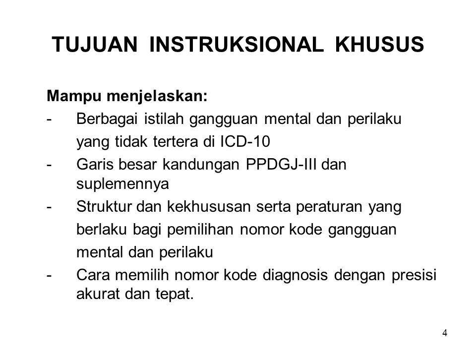 4 TUJUAN INSTRUKSIONAL KHUSUS Mampu menjelaskan: -Berbagai istilah gangguan mental dan perilaku yang tidak tertera di ICD-10 -Garis besar kandungan PP