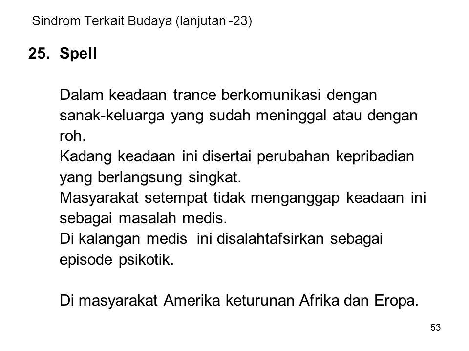 53 Sindrom Terkait Budaya (lanjutan -23) 25.Spell Dalam keadaan trance berkomunikasi dengan sanak-keluarga yang sudah meninggal atau dengan roh. Kadan