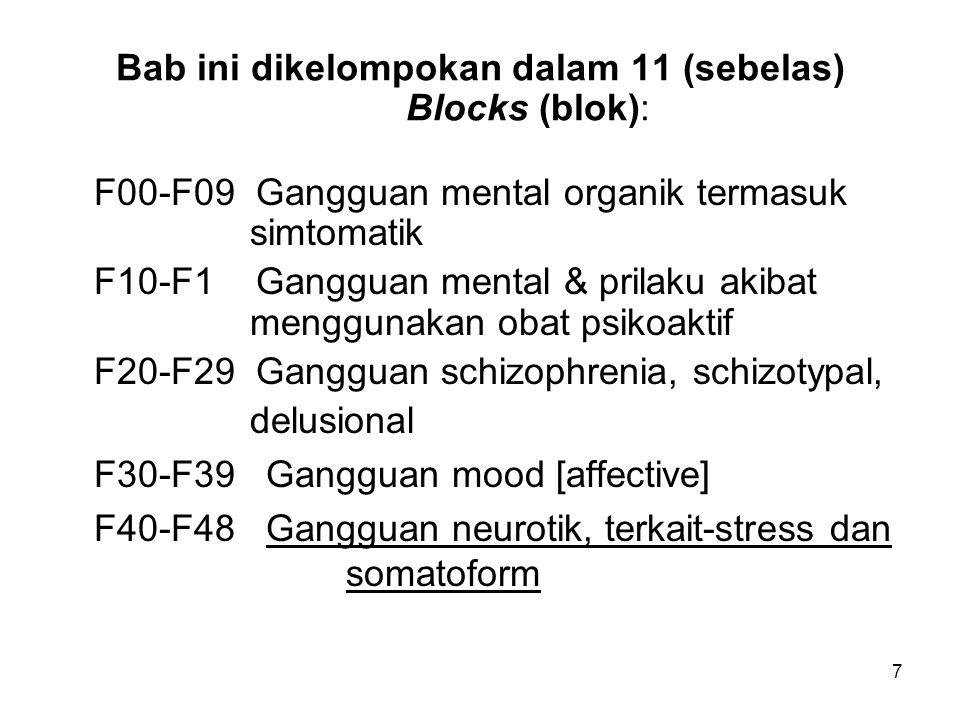 Bab ini dikelompokan dalam 11 (sebelas) Blocks (blok): F00-F09 Gangguan mental organik termasuk simtomatik F10-F1 Gangguan mental & prilaku akibat men