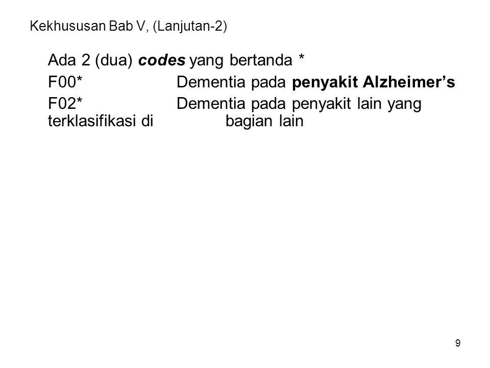 9 Kekhususan Bab V, (Lanjutan-2) Ada 2 (dua) codes yang bertanda * F00*Dementia pada penyakit Alzheimer's F02*Dementia pada penyakit lain yang terklas