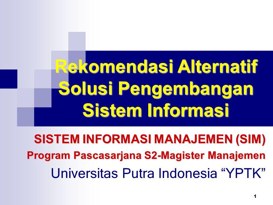 1 Rekomendasi Alternatif Solusi Pengembangan Sistem Informasi SISTEM INFORMASI MANAJEMEN (SIM) Program Pascasarjana S2-Magister Manajemen Universitas