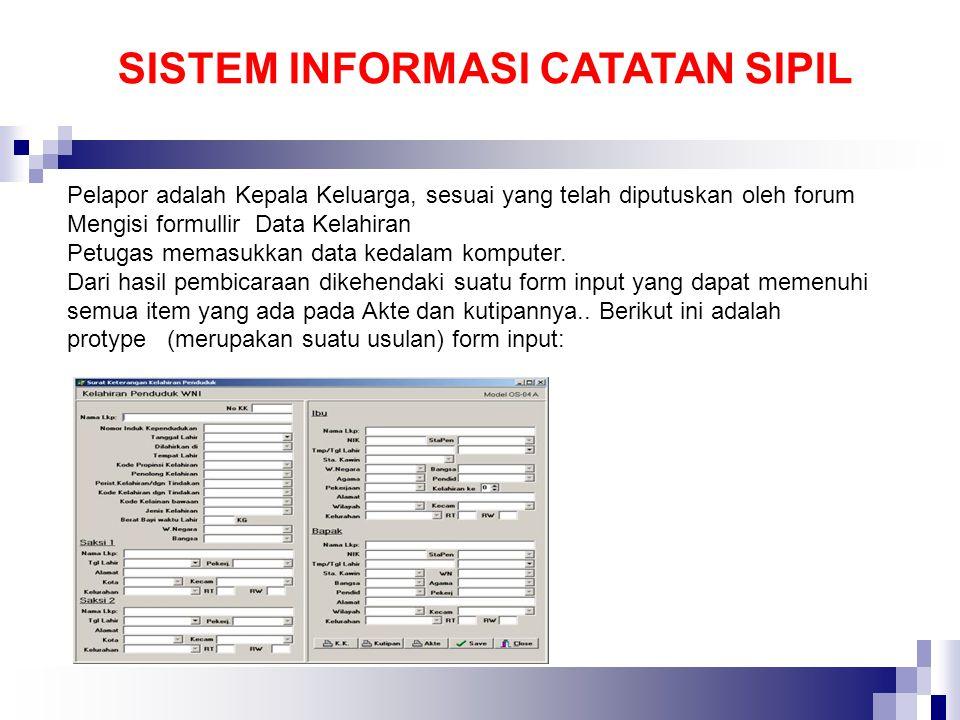 Pelapor adalah Kepala Keluarga, sesuai yang telah diputuskan oleh forum Mengisi formullir Data Kelahiran Petugas memasukkan data kedalam komputer. Dar