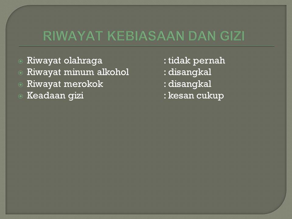  Riwayat olahraga: tidak pernah  Riwayat minum alkohol: disangkal  Riwayat merokok: disangkal  Keadaan gizi: kesan cukup