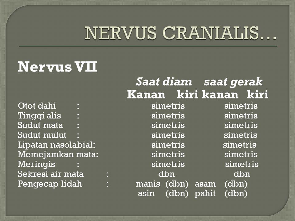 Nervus VII Saat diam saat gerak Kanan kiri kanan kiri Otot dahi: simetrissimetris Tinggi alis: simetrissimetris Sudut mata: simetrissimetris Sudut mul