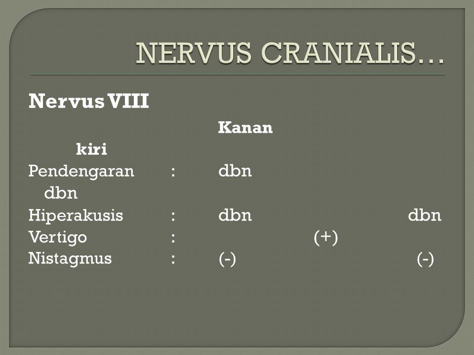 Nervus VIII Kanan kiri Pendengaran: dbn dbn Hiperakusis: dbn dbn Vertigo: (+) Nistagmus:(-) (-)
